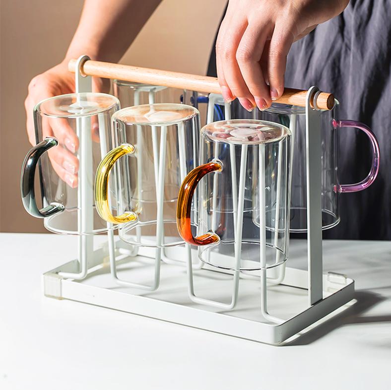 玻璃水杯套装透明家用客厅喝水带把手彩色茶杯牛奶果汁杯子ins风