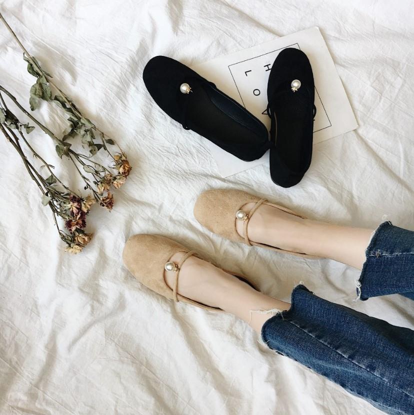 新款夏季芭蕾舞绒面圆头浅口单鞋女鞋子珍珠玛丽珍平底鞋百搭女鞋