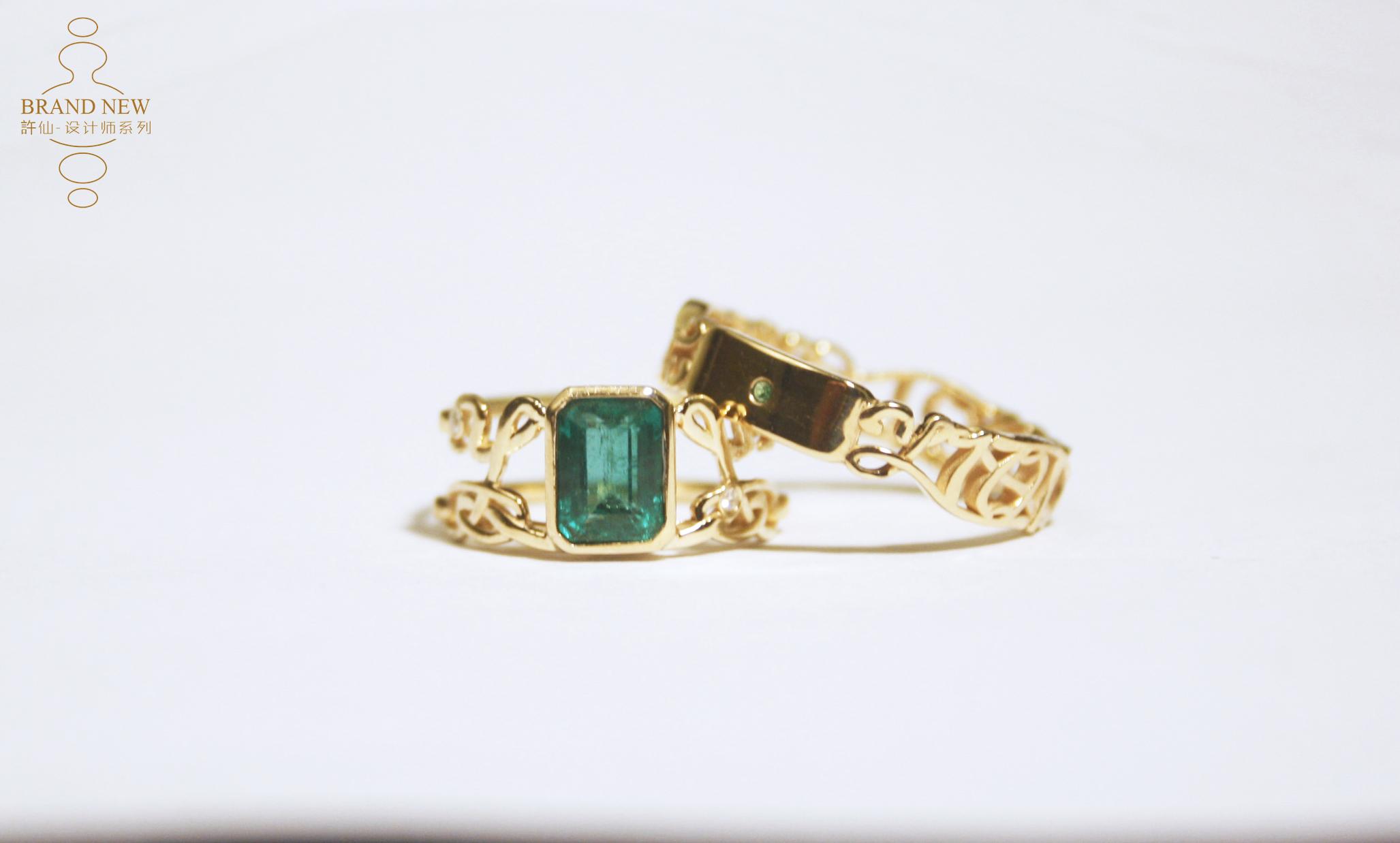 �S仙|字母数字纪念日 祖母绿 18k黄金对戒 情侣求婚指环私人订制