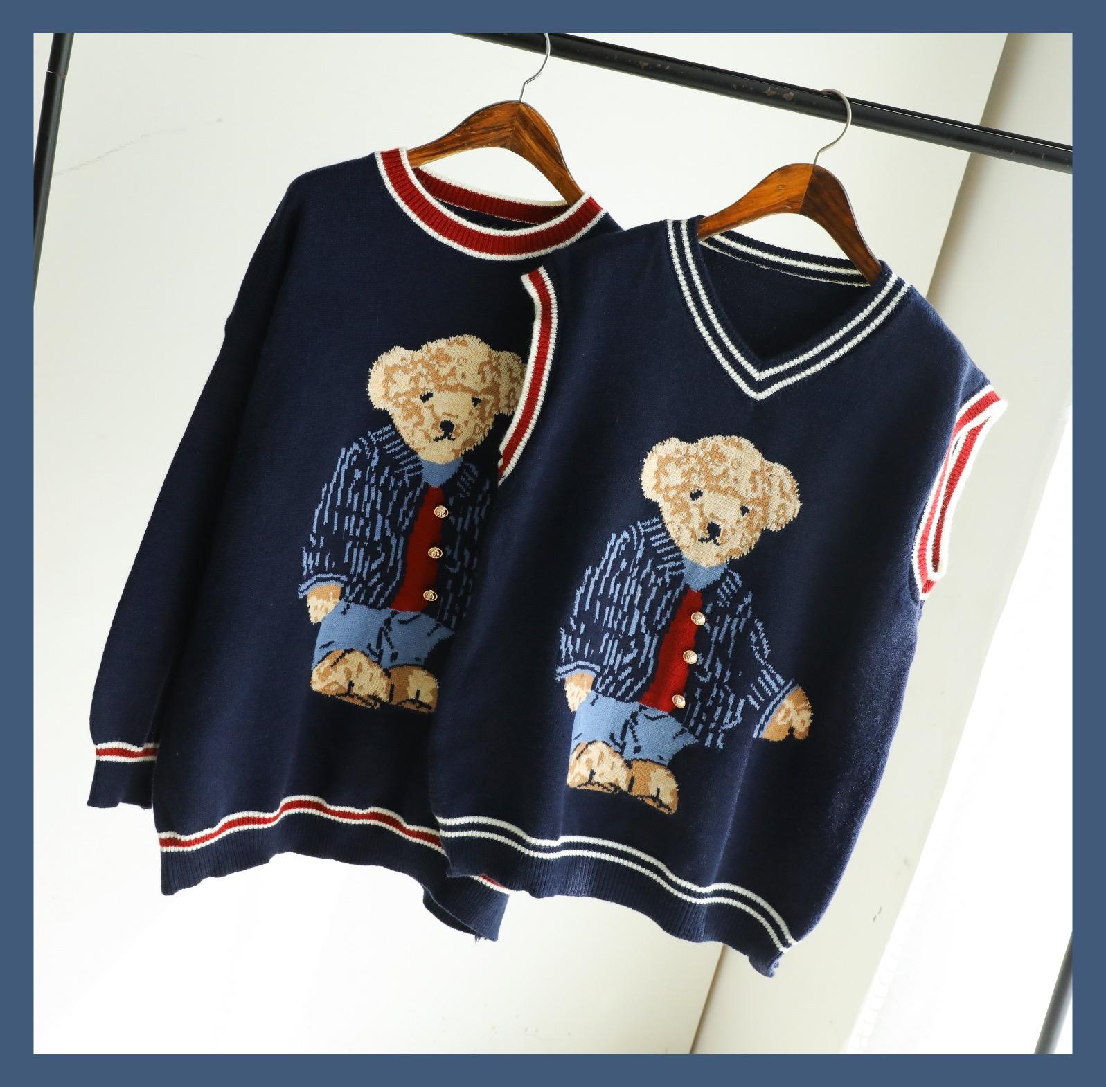 认准【物好礼品牌店】韩国订单维尼熊刺绣少女风韩版针织毛衣宽松满169元减120元