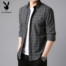 Playboy Plaid Shirt Men's long sleeve Plush shirt men's casual autumn men's shirt coat warm top