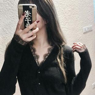 欧美范性感v领黑色 毛衣外套女