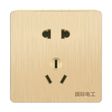 国际电工明装金色开关插座墙面明id12盒面板am三眼10A电源明
