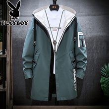 Playboy men's coat mid length spring autumn 2019 new Korean Trend thickened autumn winter coat jacket