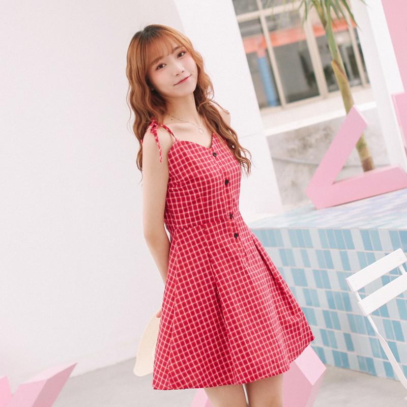 夏季新款复古格子蝴蝶结系带修身显瘦单排扣度假吊带裙连衣裙女