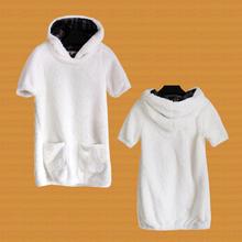 白菜价 外贸日单 少女中长式hu11毛外套ou短袖连帽毛绒卫衣