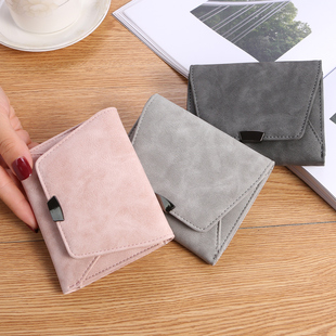 新款韩版女式短款钱包磨砂皮钱包ins潮女士零钱包薄款迷你小钱包图片