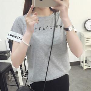 夏季韩版新款字母翻袖短袖t恤百搭宽松显瘦打底衫学生上衣服女装