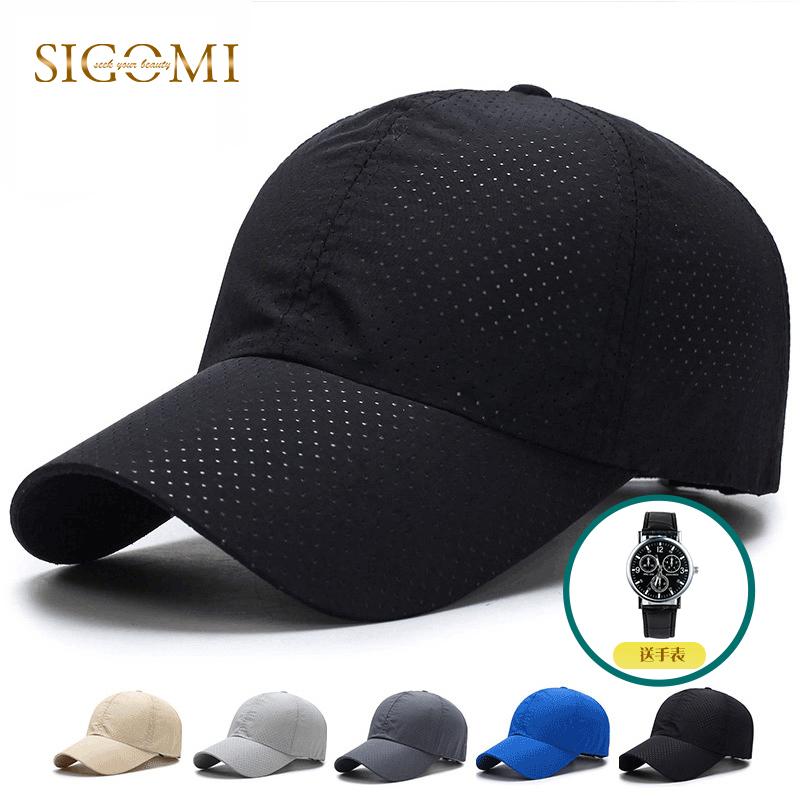夏季速干棒球帽男女通用透气鸭舌帽纯色带网眼户外