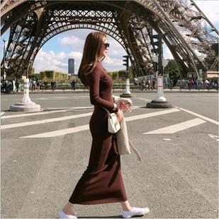 加长款低领弹力加绒修身毛衣裙女