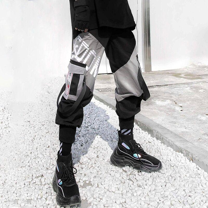 潮牌工装裤男裤休闲裤嘻哈束脚裤长裤子男装网红工装裤黑色M32