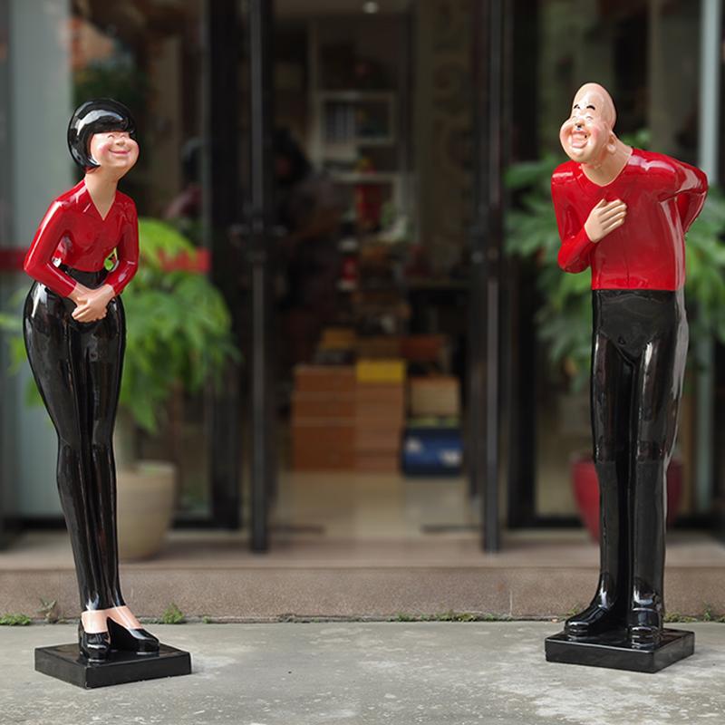 玻璃钢鞠躬迎宾人物雕塑大堂店门口装饰卡通落地摆件开业礼品礼物