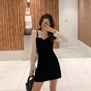 大码女装秋微胖显瘦收腰金丝绒连衣裙套装遮肉遮肚子减龄洋气裙子图片