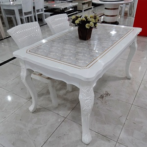 European style marble dining table and chair small apartment dining table rectangular combination white painted solid wood residential furniture dining table