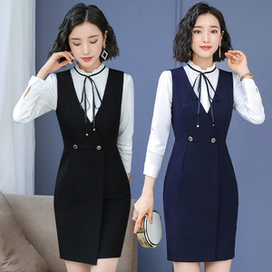 Autumn and winter hotel front desk cashier overalls division clothing waiter overalls female professional dress