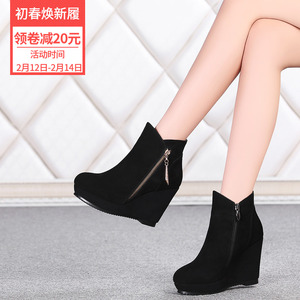 Women's frosted boots, women's shoes, 10cm wedge heel boots, women's leather, thick soles, ultra-high heels and velvet autumn and winter wild