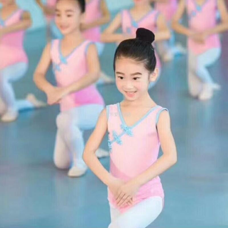 儿童春夏练功服背心盘扣中国舞蹈服女民舞体操服短袖连体裙考级服