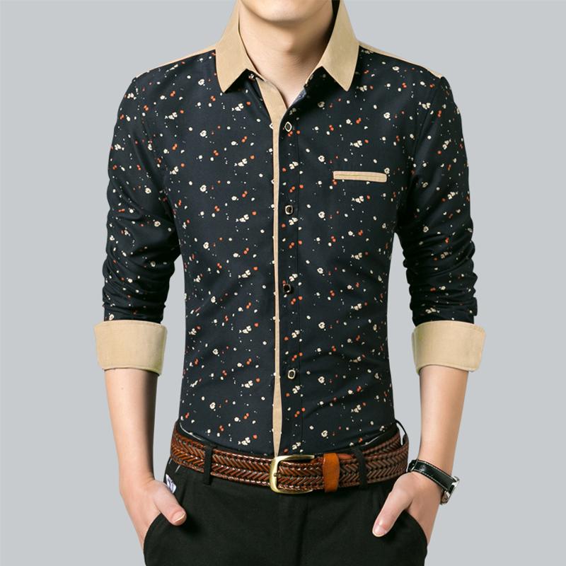秋季男士长袖衬衫韩版修身印花衬衣青年潮流休闲商务白色大码寸衫