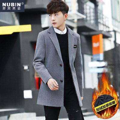 秋冬季中长款风衣服加绒加厚毛呢子大衣韩版男士潮流修身帅气外套