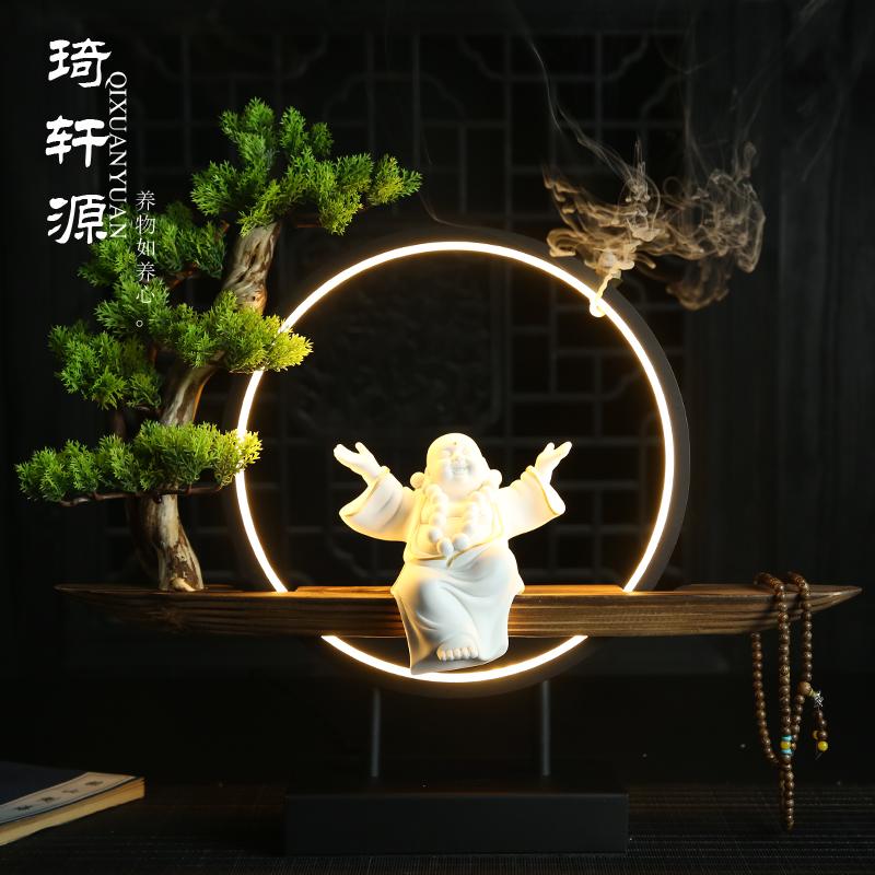 新中式禅意客厅摆件家居装饰品弥勒佛倒流香创意招财玄关陶瓷礼品