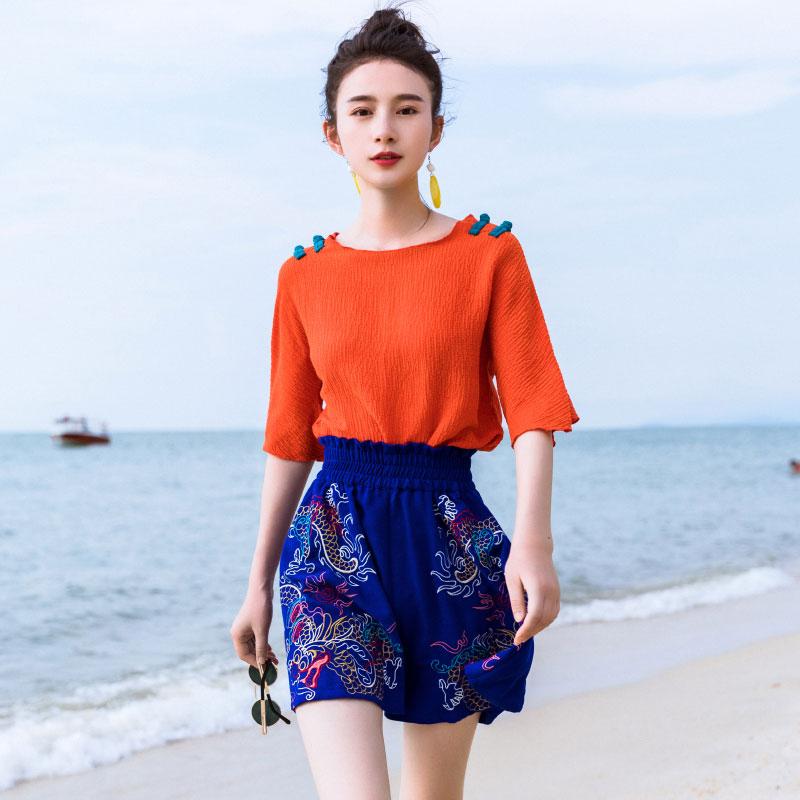 素萝 云起 时尚原创中国风女装2018夏季新款显高显瘦刺绣宽松短裤