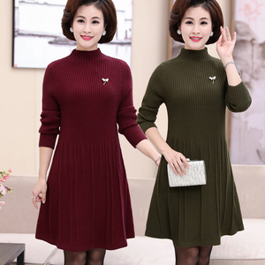 Mom autumn sweater thick mid-length long-sleeved shirt middle-aged women's autumn and winter knitted dress long-sleeved shirt
