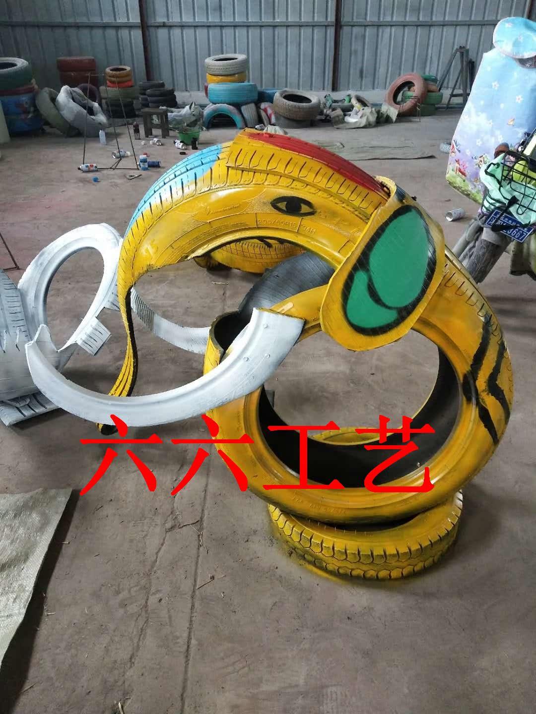 废旧轮胎创意工艺品彩绘油漆旧轮胎创意改造轮胎工艺品幼儿园装饰