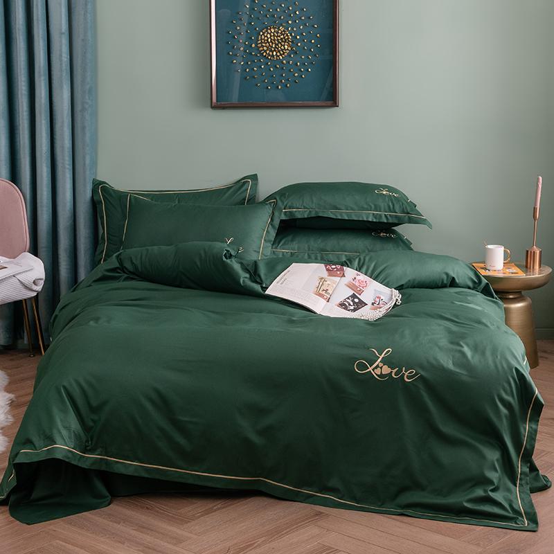 简约纯色绣花四件套北欧时尚单双床上用品网红款床单被套1.5/1.8m