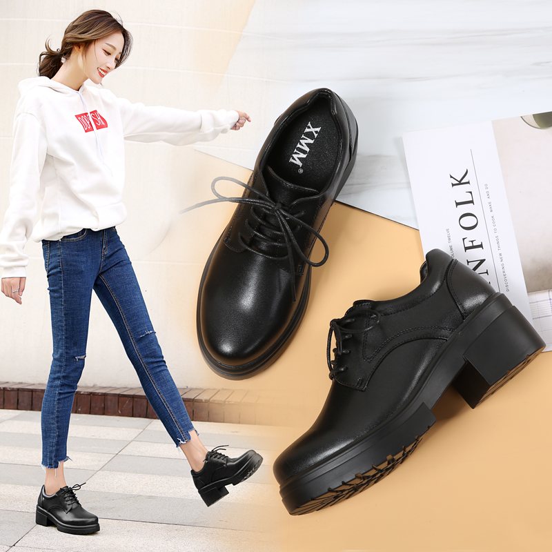 2017秋季新款加绒小皮鞋厚底学生韩版百搭高跟鞋单鞋冬季粗跟女鞋