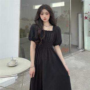 2021夏季新松緊黑色高腰方領超仙氣質溫柔連衣裙大擺垂感收腰長裙
