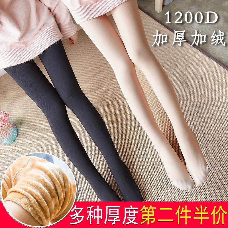春秋冬季连裤袜加厚加绒丝袜光腿肤色肉色美腿袜女打底袜保暖神器