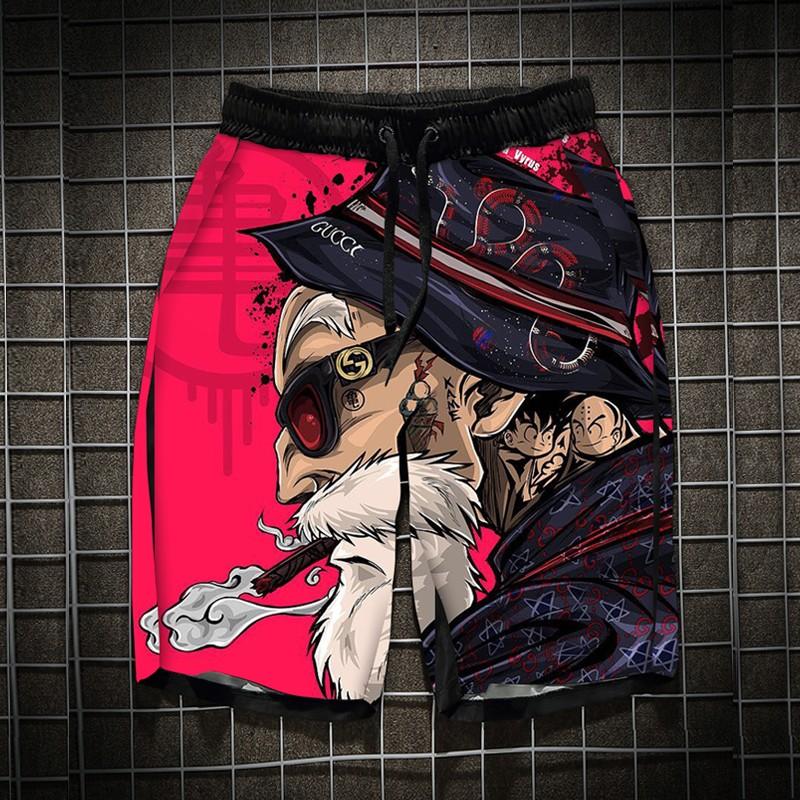 七龙珠短裤龟仙人衣服孙悟空休闲短裤男沙滩裤有大码宽松短裤