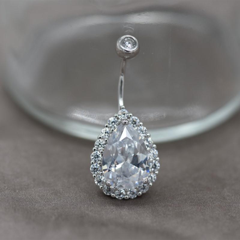 925纯银 双钻冰晶肚脐钉 欧美时尚肚脐环 防过敏脐钉脐环