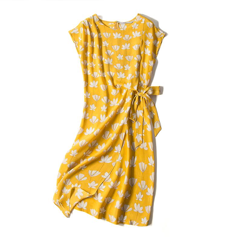 【2件75折】真丝连衣裙围裹式高腰印花不规则系带收腰圆领中长裙