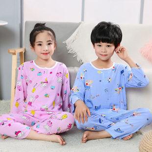 夏季儿童棉绸睡衣套装薄款长袖男孩女童绵绸防蚊虫儿童空调家居服