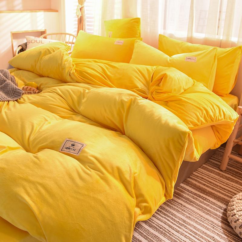 加厚珊瑚绒四件套法兰绒被套双面水晶法莱绒床上用品床单三件套冬