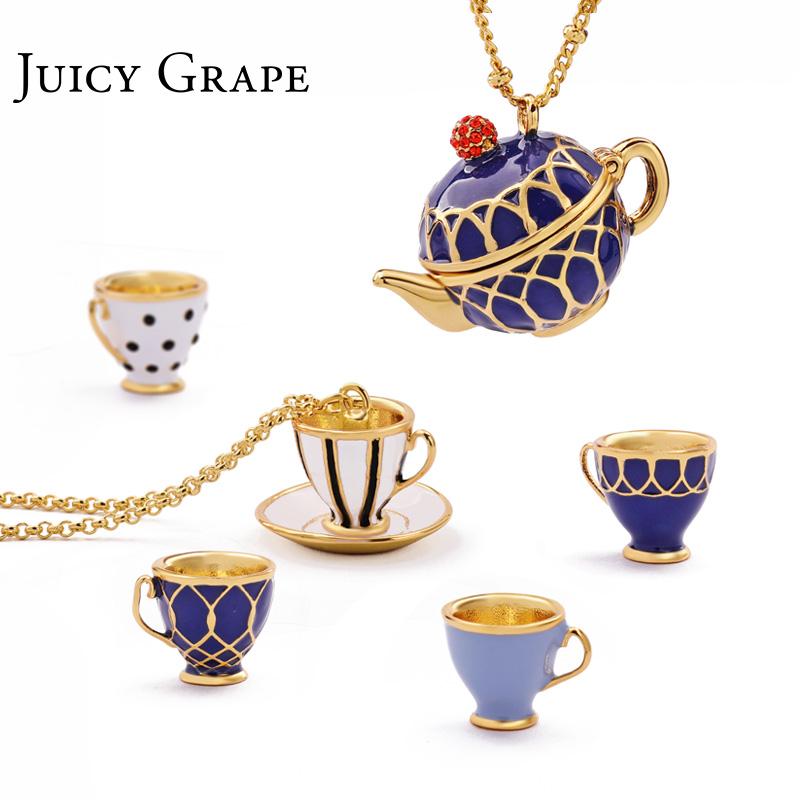 Juicy Grape毛衣链长款衣服配饰项链 珐琅彩饰品 茶杯挂饰项链女