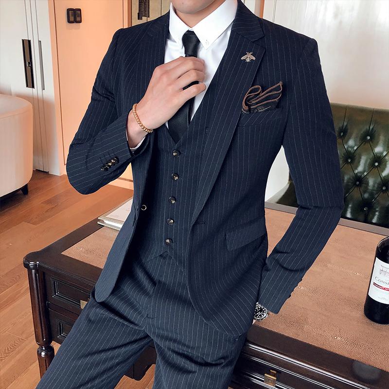 条纹西装男套装韩版修身上班正装男士西服伴郎新郎结婚礼服三件套