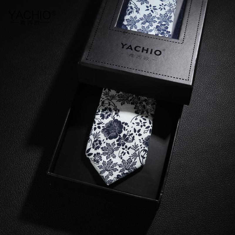 雅西歐水墨個性花紋男士領帶6cm韓版窄版棉質花領帶男禮盒裝