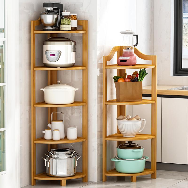 厨房三角置物架落地式多层放锅架子转角架墙角拐角家用锅具收纳架满59元减5元
