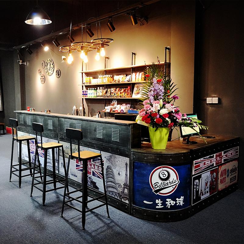 工业风复古收银台柜台理发店美容院餐厅吧台奶茶店酒吧吧台桌前台