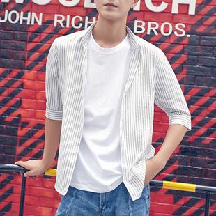 韩风条纹短袖衬衫男士青年衬衣韩版潮流夏季新款7分袖薄款半袖寸