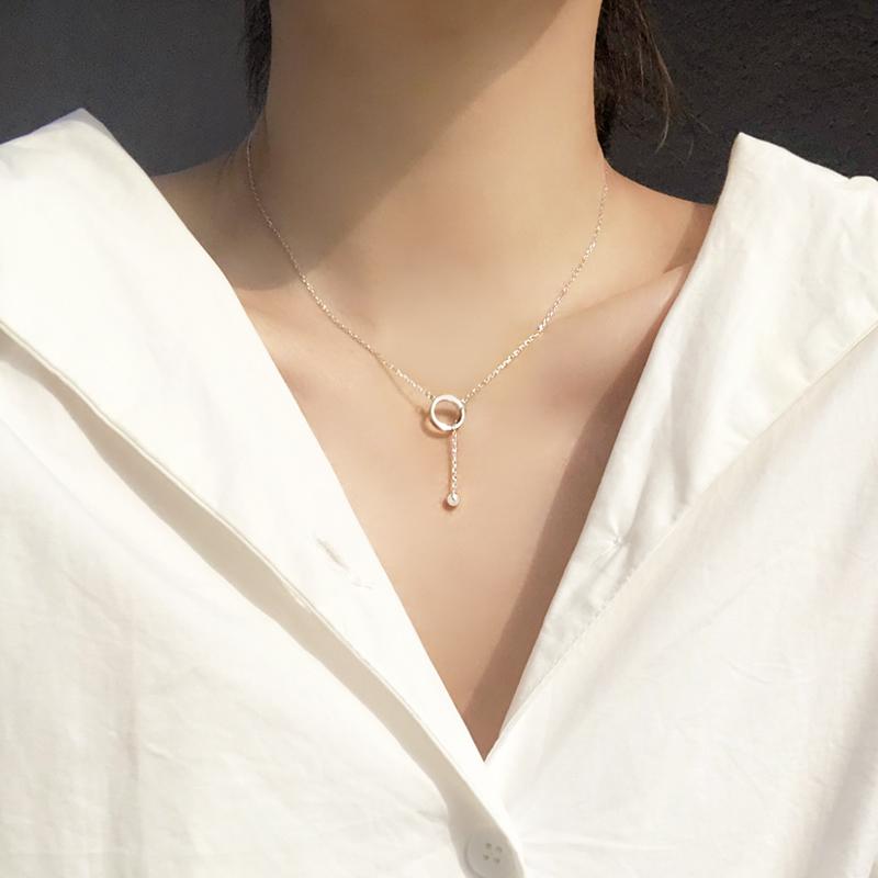 @小麋人 两种戴法圆圈几何滑动圆珠流苏S925纯银项链锁骨链时尚女