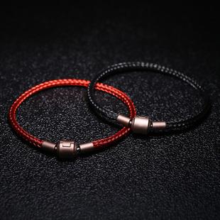 防水钢丝手链 可穿3D硬金转运珠手绳DIY情侣饰品男女红色皮绳手链图片