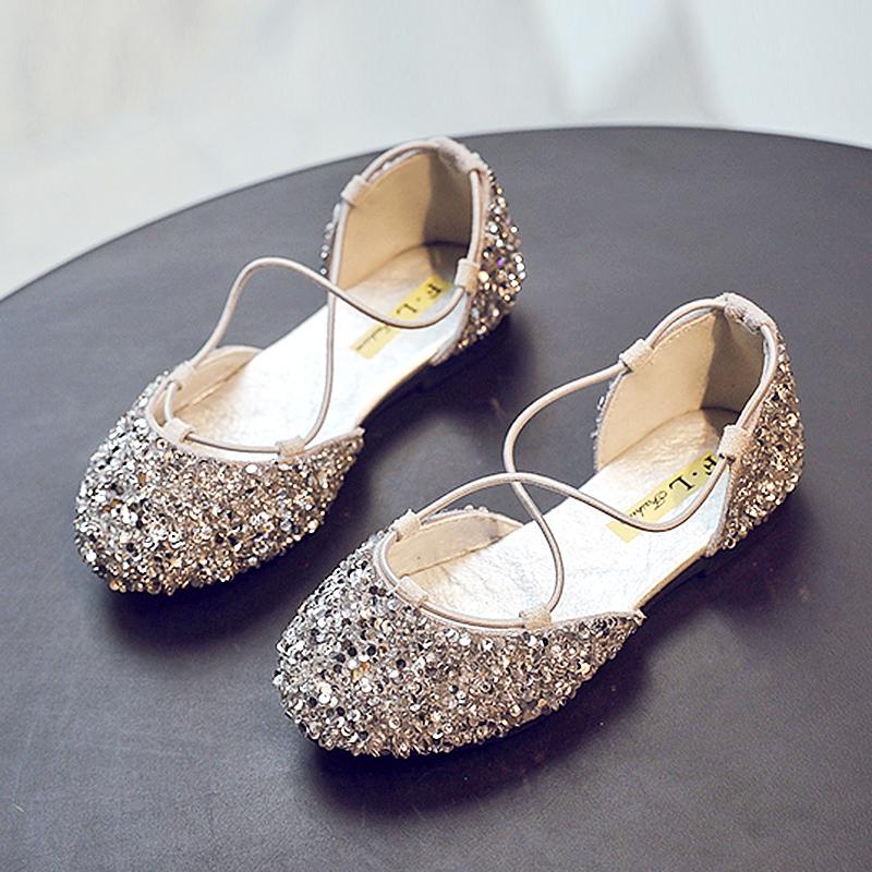 儿童公主鞋2019夏季新款软底女童皮鞋单鞋小女孩凉鞋水晶鞋女童鞋