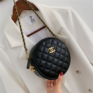 Bags women's bags new 2020 round chain slung wild wild small fragrance rhombus ins fashion small round bag