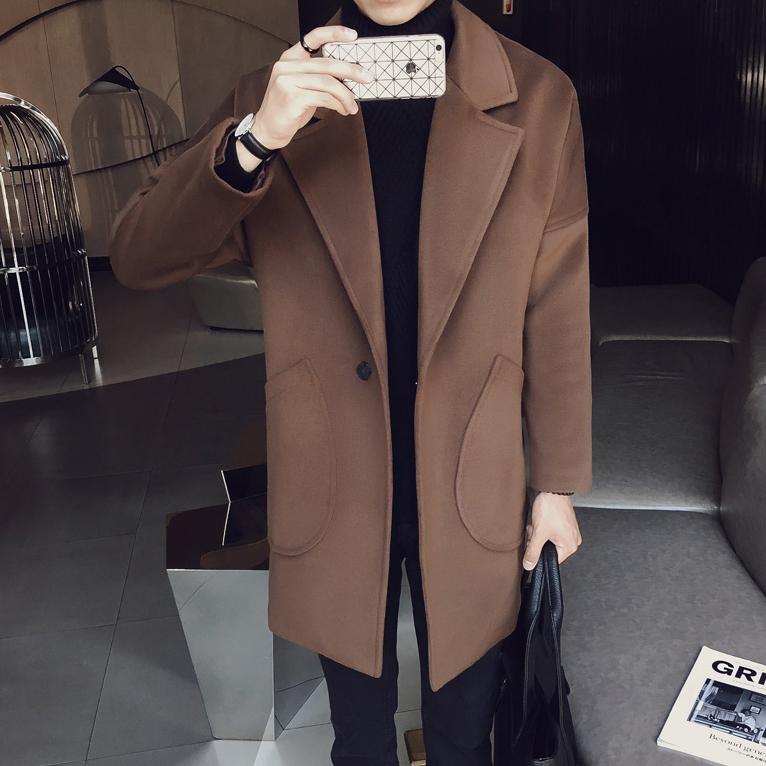 秋季2017新款韩版男士风衣中长款百搭宽松妮子外套青年毛呢大衣潮