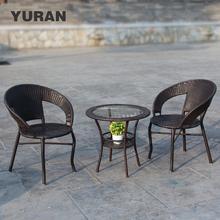 藤椅茶几三件套户te5阳台(小)桌es闲室内藤编单的组合花园腾椅
