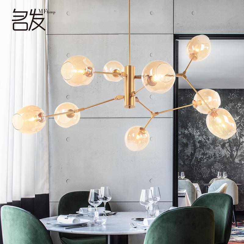 北欧金色魔豆客厅后现代分子玻璃球吊灯树枝灯黄铜年轮海德公园