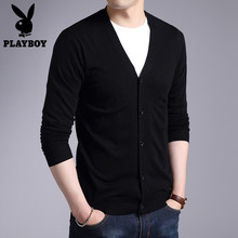 Playboy's Spring Thin Card Men's Leisure V-neck Knitted Bottom Shirt Men's Self-cultivation Outside Sweater Coat